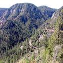 In this photo you can see three stretches of the Oak Creek Canyon road winding up the mountain