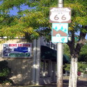 A sign for historic Route 66 in Winslow, Arizona (but not on a corner)