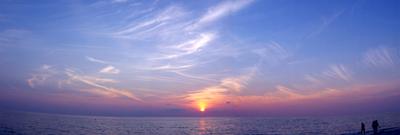 Panorama of horizon at sunset