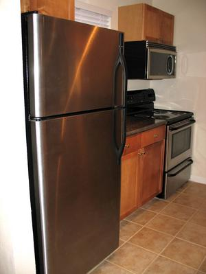 View of the cool stainless steel refrigerator